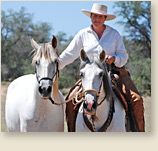 Inspirational horsemanship demos with andalusians Bergante and Debutante